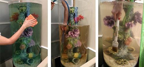 Как и чем чистить цилиндрический аквариум?